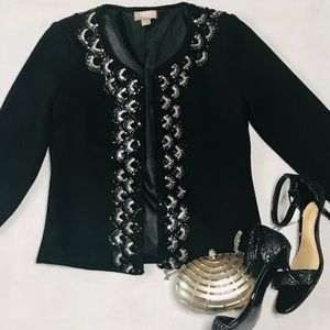 Love 21 Black Cropped Jacket with sequin d…